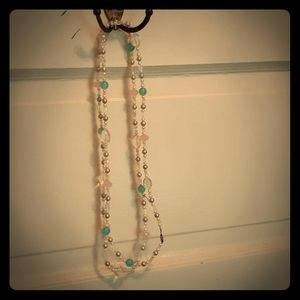 Aqua and white beaded necklace